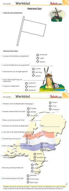 Werkblad : Nederland Quiz, Aduis Skills To Learn, Life Skills, Biology For Kids, Learn Dutch, Dutch Language, German Words, School Levels, Free Courses, School Hacks