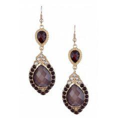 Olivia Welles Marquis Shaped Duo Teardrop Earrings - Gold/Black