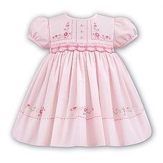 Sarah Louise Baby Girl Pink Smocked Dress with Pink Flower Embroidery  Flower Embroidery eb829e92d