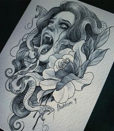 Medusa sketch for fun. I have thursday august 29 available. If you're interested, mail to:… Medusa Tattoo Design, Tattoo Design Drawings, Tattoo Sketches, Art Sketches, Tattoo Designs, Half Sleeve Tattoos Sketches, Tattoo Ideas, Creepy Tattoos, Leg Tattoos