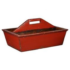 Wood storage caddy in distressed red.  Product: Storage caddyConstruction Material: WoodColor: RedDimensions: 13.5 H x 17 W x 11 D