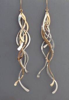 Extra long sterling silver and gold filled feather by rachelwilder