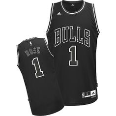 Chicago Bulls 1 Derrick Rose Black and White Fashion Jersey Wholesale Cheap bc8d77c276f7