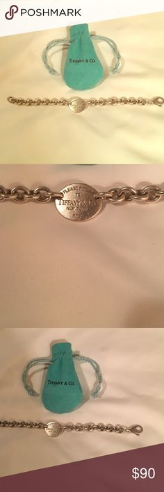 """Return to Tifffany & Co"" silver bracelet Been worn but in good condition! A few scratches but no major imperfections. Comes with original dust bag! Authentic Tiffany silver- 925 Jewelry Bracelets"