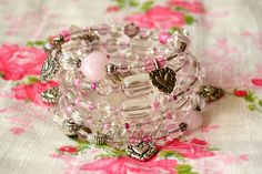 Bright Love Memory Wire Bracelet Bridal Memory by TaikalandiaShop Boho Jewelry, Beaded Jewelry, Beaded Bracelets, Unique Jewelry, Handmade Crafts, Handmade Jewelry, Memory Wire Bracelets, Bead Earrings, Glass Beads