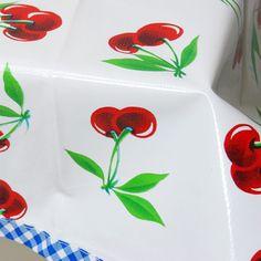 Cherry oilcloth tablecloth--Retroplanet.com