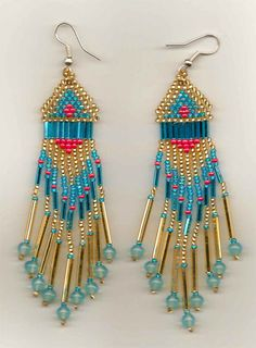 traditional-style-native-american-seed-beaded-earrings by Jersica Seed Bead Jewelry, Seed Bead Earrings, Fringe Earrings, Beaded Jewelry, Seed Beads, Nice Jewelry, Jewellery, Beaded Earrings Patterns, Seed Bead Patterns