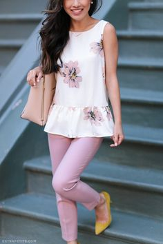 spring - summer office outfit // floral peplum top + pink pants from extrapetite.com