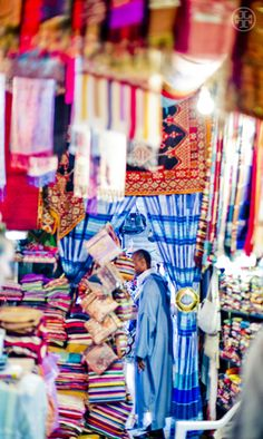 Fabrics and scarves in the souk in Morocco