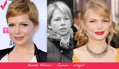 Michelle Williams - Gamine. Best makeup (left) vs. wrong makeup.