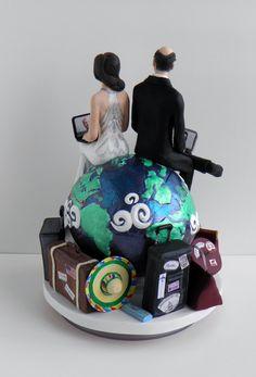 #Custom #Wedding #Cake #Topper: Around The World #Skype #LongDistance www.customweddingcaketopper.ca Concept by Sophie Cartier Sculpture