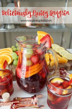 Deliciously Fruity Sangria Recipe - Easy Peasy Pleasy Turn up your gathering with this super easy and Deliciously Fruity Sangria. Sangria Recipe For A Crowd, Fruity Sangria Recipe, Red Sangria Recipes, Coctails Recipes, Punch Recipes, Homemade Sangria Recipe Easy, Best Party Sangria Recipe, Olive Garden Sangria Recipe, Gourmet