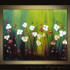 Flower acrylic painting. Love background!
