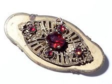 Antique Czech Art Nouveau gold tone 2 part filigree pin brooch ruby rhinestones