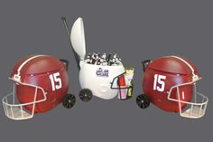 """Kickoff the Season in Style. Yes, its an Ice Chest. 40 Quarts of , """"ROLL TIDE ROLL"""". Dry Storage in the Facemask, Insulated, Telescoping Handle with 6"""" Wheels. Made in the USA and assembled by hand. CoolrCoolrz.com. In Stock. Quantities very limited. #CrimsonTide"""
