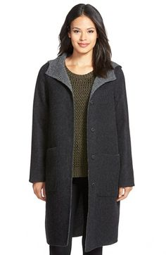 Eileen Fisher Hooded Double Face Alpaca Blend Coat (Regular & Petite) available at #Nordstrom