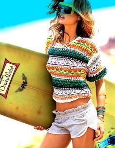 Blusa tricô verão colorido