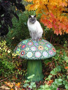 garden mushroom mosaic