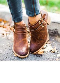 Buckle Ankle Boots Chunky Heel Shoes (1242424) Baleríny 5986a23d394