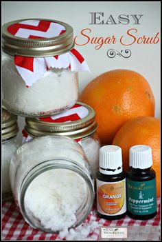 Whip up a fantastic Orange-and-Peppermint Sugar Scrub in less than five minutes! This sugar scrub is a great gift idea!