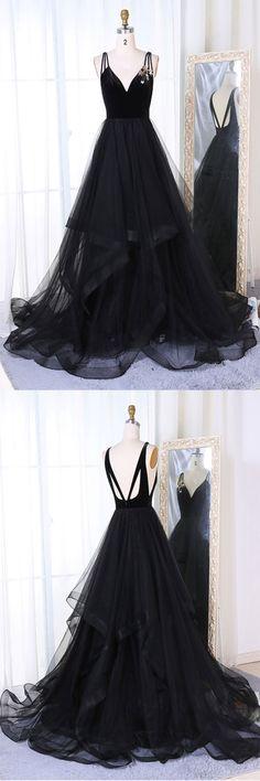 Simple black tulle v neck long prom dress, black evening dress
