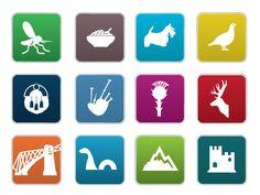 Iconic symbols of Scotland. Warning Signs, Pictogram, Tartan, Scotland, Badge, The Unit, Symbols, Cards, Plaid