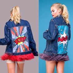 Painted Denim Jacket, Ostrich Feathers, Denim Jackets, Easy Paintings, Fashion Brand, Hand Painted, Couture, Prints, Color