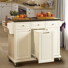 White Kitchen Cart With Trash Pull  $279.99.  Use for my folding center/extra storage in the bathroom.  Pull out as a hamper.