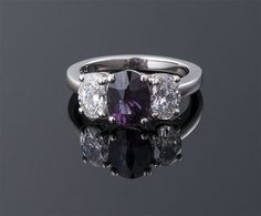 Oval Alexandrite and Diamond Ring A=1.87cts   D=1.17cts Platinum (14.5 x 8mm)  Yes please!