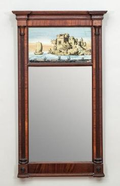 Americana at Stair & Century Fine and Applied Arts Trumeau Mirror, Wall Mirrors, Traditional Furniture, Wood Work, Columns, Chinoiserie, Home Accessories, 19th Century, This Is Us