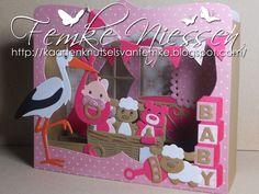 Baby Cards, Kids Cards, Shadow Box, Marianne Design Cards, Album Scrapbook, Rena, Baby Shower Niño, Baby Shower Invitaciones, Paper Crafts Origami