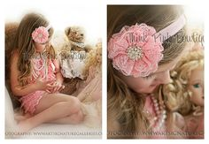 Coral PINK  petti lace romper and headband SET por ThinkPinkBows