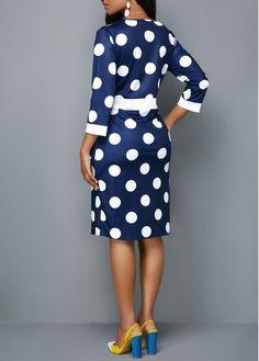 Three Quarter Sleeve Pocket Polka Dot Print Dress - Trend Way Dress Nice Dresses, Casual Dresses, Dresses For Work, Tshirt Dress Outfit, Club Party Dresses, Moda Vintage, Fall Fashion Outfits, Polka Dot Print, Ladies Dress Design