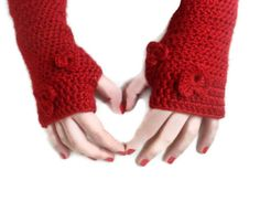 hand crocheted Fingerless gloves,red gloves,women,for her,crochet trends,long,2013 Trends,Crocheted,valentine. $25.00, via Etsy.