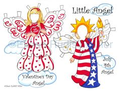Little Angel Holiday Cut-Out Doll by PaperDollsbyERMiller on Etsy