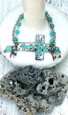 Patina Cross Bracelet | Sideways Cross Cuff | Horizontal CRoSS | CrOSs BrACelet | Religious Jewelry | SIDE CROSS BRACELET | Turquoise Cuff by SecretStashBoutique on Etsy https://www.etsy.com/listing/227070782/patina-cross-bracelet-sideways-cross