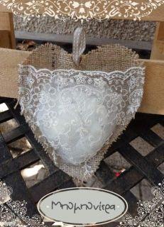 Καρδιά από λινάτσα & δαντέλα Vintage, Wedding, Valentines Day Weddings, Weddings, Vintage Comics, Mariage, Marriage, Primitive, Chartreuse Wedding