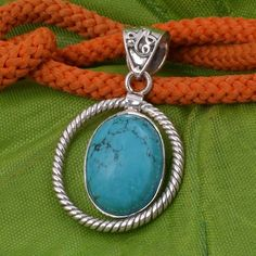 TURQUOISE 925 SOLID STERLING SILVER NEW STYLISH PENDANT 5.84g DJP5646 #Handmade #Pendant