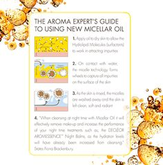The Aroma Expert's Guide to Using New Micellar Oil 1. Apply oil to dry skin to allow the Hydrolipid Molecules (Surfactants) to work in attracting impurities. 2. On contact with water, the Micelle Technology forms wheels to capture all impurities on the surface of the skin. 3. As the skin is rinsed, the Micelles are washed away and the skin is left clean, soft and radiant. Dry Skin, Wheels, Surface, How To Apply, Skin Care, Cleaning, Oil, Technology, Water