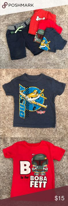 Shirts & Shorts Bundle One pair of navy blue shorts from H&M and 3 shirts. Shorts are 9-12 months but run on the bigger side. Disney Planes shirt is 12 months, Dog Lover shirt is 18 months and Boba Fett shirt is 2T. Boba Fett shirt runs small and could be worn at 18 mos in my opinion. Shirts are all in EUC. Shorts are in good condition but do show light wear on the knees. Shirts & Tops