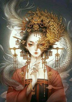 By Artist Unknown. Art Sketches, Art Drawings, China Art, Chinese Painting, Anime Art Girl, Japanese Art, Manga Drawing, Fantasy Art, Concept Art