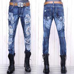 Mens Alternative Blue Skinny Boot Cut Punk Rock Emo Jeans Clothing SKU-11404046