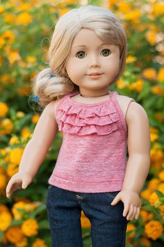 Doll Clothes: Ruffled Tank Top for an American Girl Doll or Other 18 Inch Doll