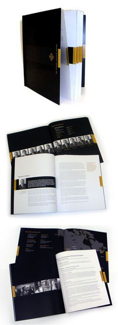 Annual Report Design: By using the contrast and simplicity of black and white along with one spot color from the logo, minimal imagery and a serif font with traditional curves not only resulted in a sharp and elegant Annual Report but reduced printing costs considerably. The embossing on the cover gave a luxurious effect with a feeling of longstanding strength and the use of translucent paper on the first page clearly showed that there was nothing to hide. Adobe, InDesign, Photoshop