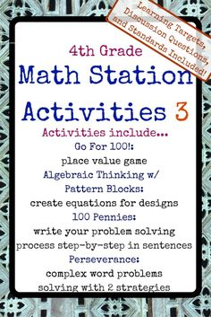 Grade Math Stations - the elementary math consultant - Real Time - Diet, Exercise, Fitness, Finance You for Healthy articles ideas Math Resources, Math Activities, Math Games, Math Stations, Math Centers, Teaching Math, Creative Teaching, Kindergarten Writing, Teaching Tips