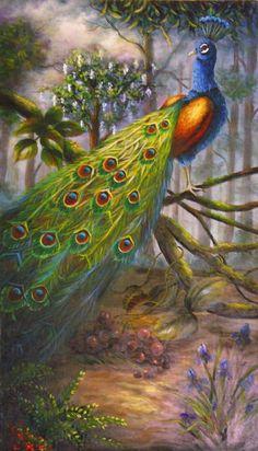 Wild Peacock Painting.