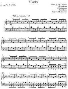 free+sheet+music+for+clocks | David Sides - Clocks (Coldplay Cover) Piano Sheet Music *Free Shipping ...