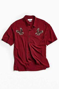 Customized Rayon Short Sleeve Button-Down Shirt