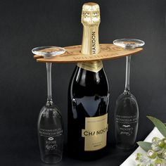 Engraved Wooden Champagne Butler Set With by PersonalisedFavours