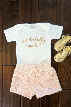 Wonderfully Made Gold Glitter on White Onesie by Grace and Lucille